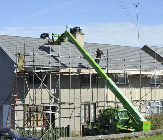 scaffolding surrounding the house